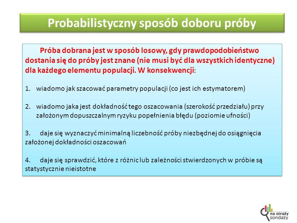 Próba dobrana jest w sposób losowy, gdy prawdopodobieństwo dostania się do próby jest znane (nie musi być dla wszystkich identyczne) dla każdego elementu populacji.