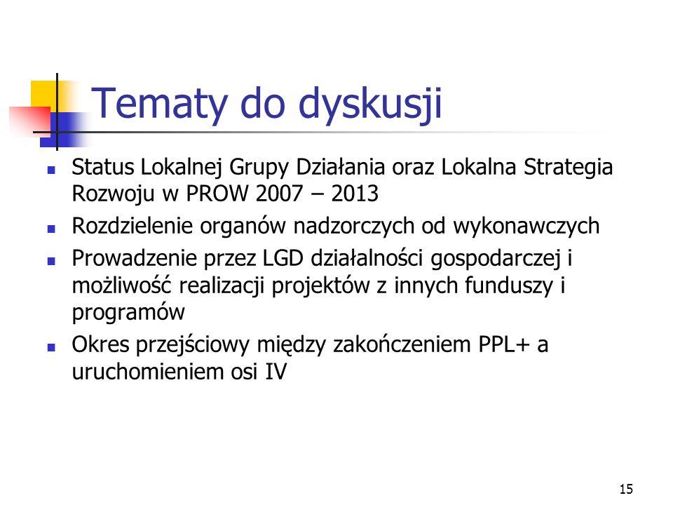 15 Tematy do dyskusji Status Lokalnej Grupy Działania oraz Lokalna Strategia Rozwoju w PROW 2007 – 2013 Rozdzielenie organów nadzorczych od wykonawczych Prowadzenie przez LGD działalności gospodarczej i możliwość realizacji projektów z innych funduszy i programów Okres przejściowy między zakończeniem PPL+ a uruchomieniem osi IV