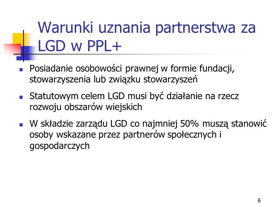 6 Warunki uznania partnerstwa za LGD w PPL+ Posiadanie osobowości prawnej w formie fundacji, stowarzyszenia lub związku stowarzyszeń Statutowym celem LGD musi być działanie na rzecz rozwoju obszarów wiejskich W składzie zarządu LGD co najmniej 50% muszą stanowić osoby wskazane przez partnerów społecznych i gospodarczych