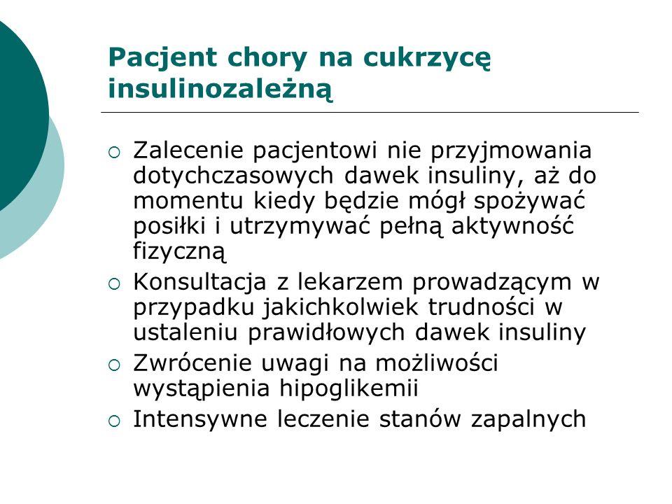 Zalecenie pacjentowi nie przyjmowania dotychczasowych dawek insuliny, aż do momentu kiedy będzie mógł spożywać posiłki i utrzymywać pełną aktywność fi