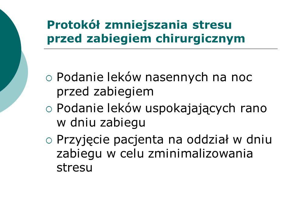 Protokół zmniejszania stresu przed zabiegiem chirurgicznym Podanie leków nasennych na noc przed zabiegiem Podanie leków uspokajających rano w dniu zab