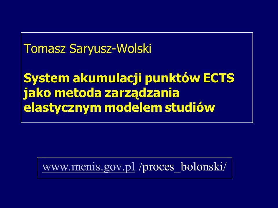 Tomasz Saryusz-Wolski System akumulacji punktów ECTS jako metoda zarządzania elastycznym modelem studiów www.menis.gov.plwww.menis.gov.pl /proces_bolonski/