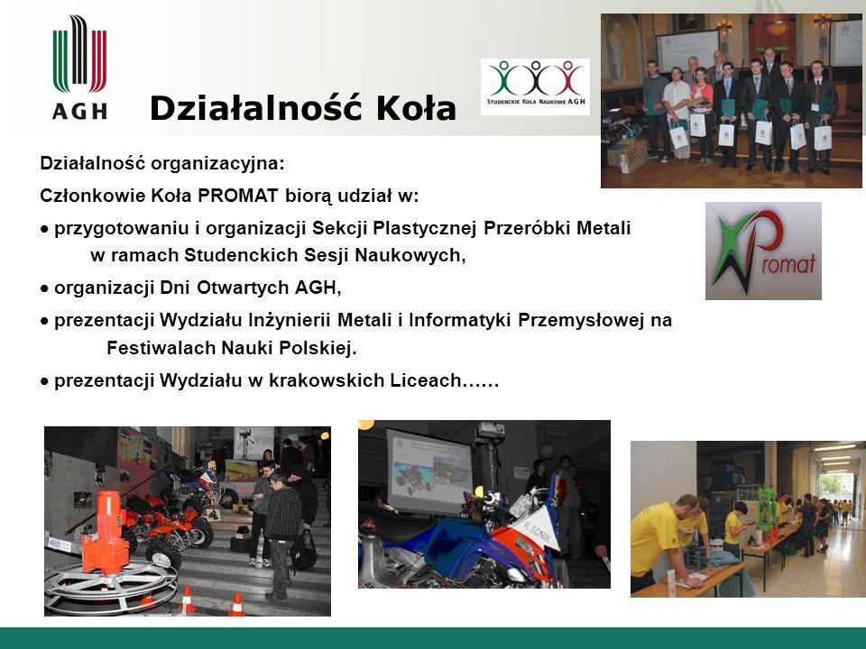 Działalność Koła Działalność organizacyjna: Członkowie Koła PROMAT biorą udział w: przygotowaniu i organizacji Sekcji Plastycznej Przeróbki Metali w r