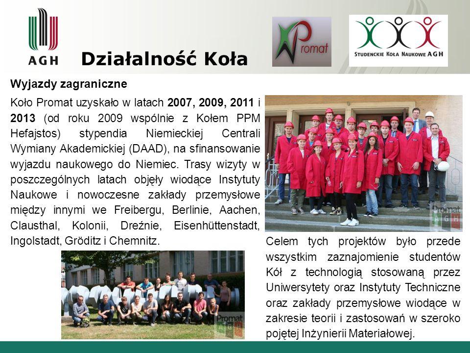 Działalność Koła Wyjazdy zagraniczne Koło Promat uzyskało w latach 2007, 2009, 2011 i 2013 (od roku 2009 wspólnie z Kołem PPM Hefajstos) stypendia Nie