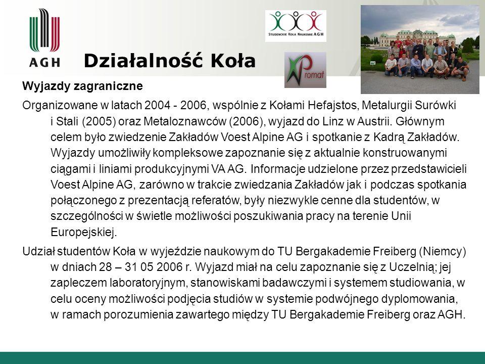 Działalność Koła Wyjazdy zagraniczne Organizowane w latach 2004 - 2006, wspólnie z Kołami Hefajstos, Metalurgii Surówki i Stali (2005) oraz Metaloznaw