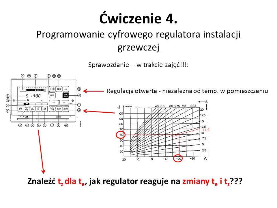 Sprawozdanie – w trakcie zajęć!!!: Ćwiczenie 4. Programowanie cyfrowego regulatora instalacji grzewczej Regulacja otwarta - niezależna od temp. w pomi