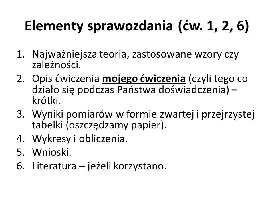 Elementy sprawozdania (ćw. 1, 2, 6) 1.Najważniejsza teoria, zastosowane wzory czy zależności. 2.Opis ćwiczenia mojego ćwiczenia (czyli tego co działo