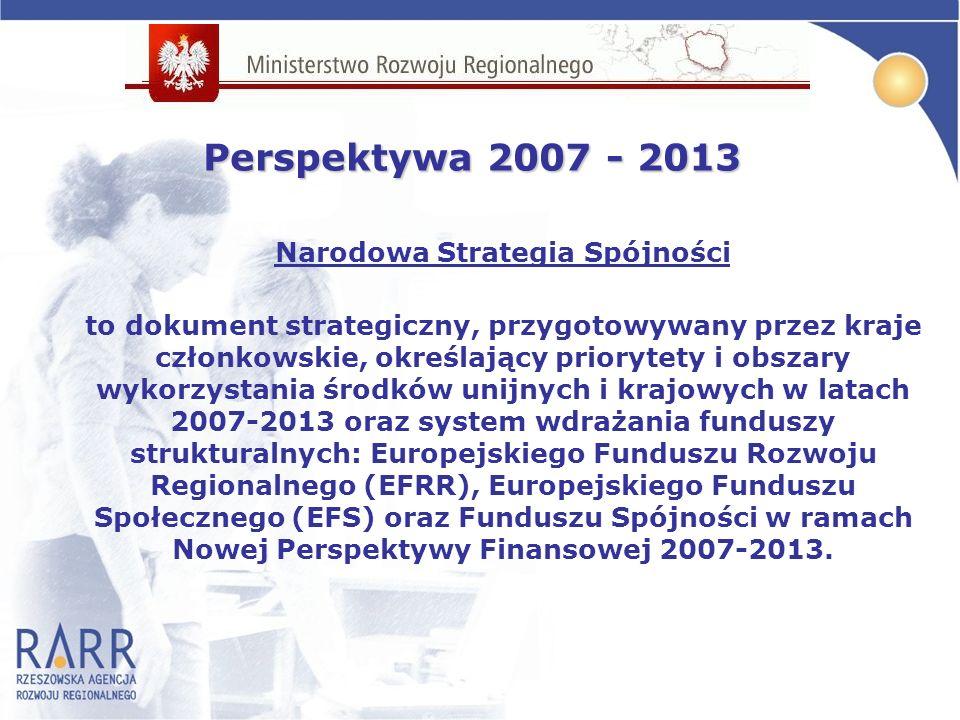 Narodowa Strategia Spójności to dokument strategiczny, przygotowywany przez kraje członkowskie, określający priorytety i obszary wykorzystania środków unijnych i krajowych w latach 2007-2013 oraz system wdrażania funduszy strukturalnych: Europejskiego Funduszu Rozwoju Regionalnego (EFRR), Europejskiego Funduszu Społecznego (EFS) oraz Funduszu Spójności w ramach Nowej Perspektywy Finansowej 2007-2013.