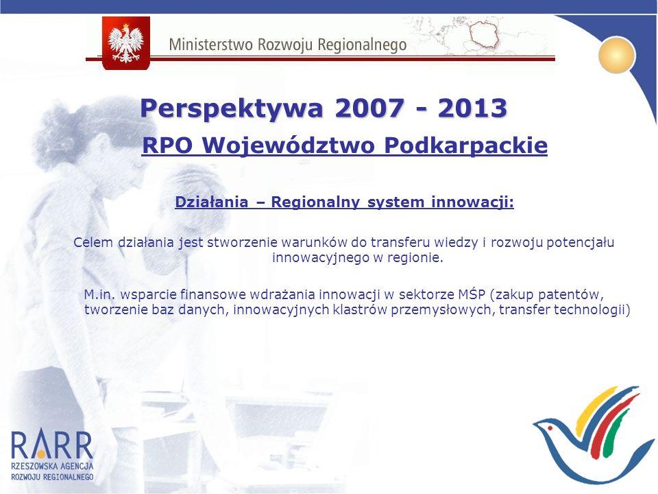 RPO Województwo Podkarpackie Działania – Regionalny system innowacji: Celem działania jest stworzenie warunków do transferu wiedzy i rozwoju potencjału innowacyjnego w regionie.