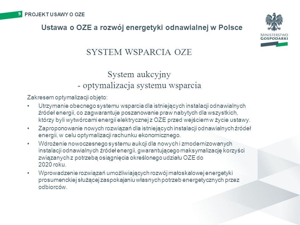 99 SYSTEM WSPARCIA OZE System aukcyjny - optymalizacja systemu wsparcia Zakresem optymalizacji objęto: Utrzymanie obecnego systemu wsparcia dla istnie