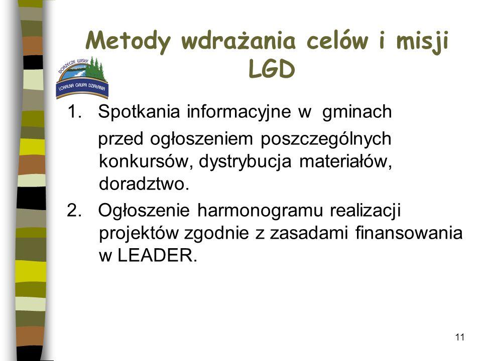 11 Metody wdrażania celów i misji LGD 1. Spotkania informacyjne w gminach przed ogłoszeniem poszczególnych konkursów, dystrybucja materiałów, doradztw