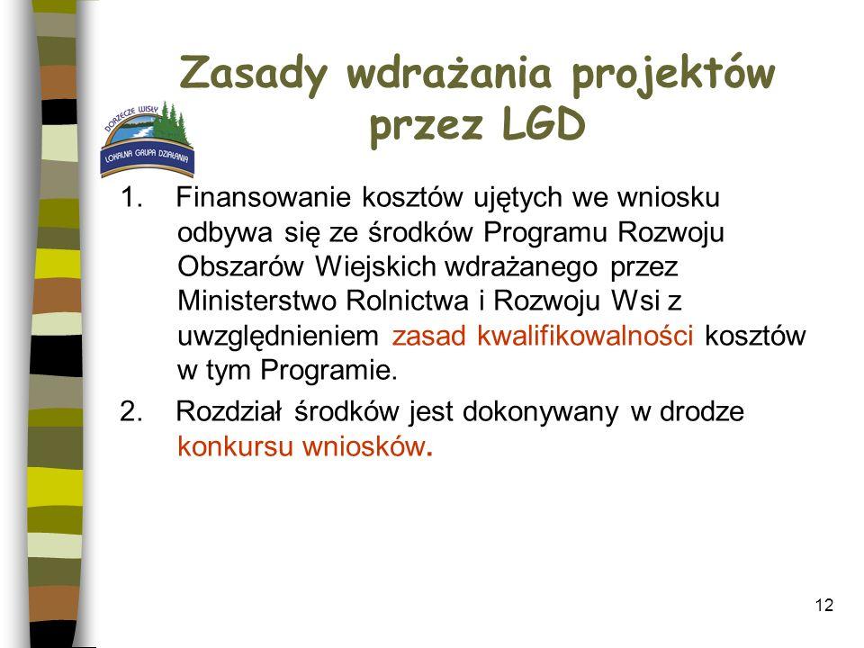 12 Zasady wdrażania projektów przez LGD 1. Finansowanie kosztów ujętych we wniosku odbywa się ze środków Programu Rozwoju Obszarów Wiejskich wdrażaneg