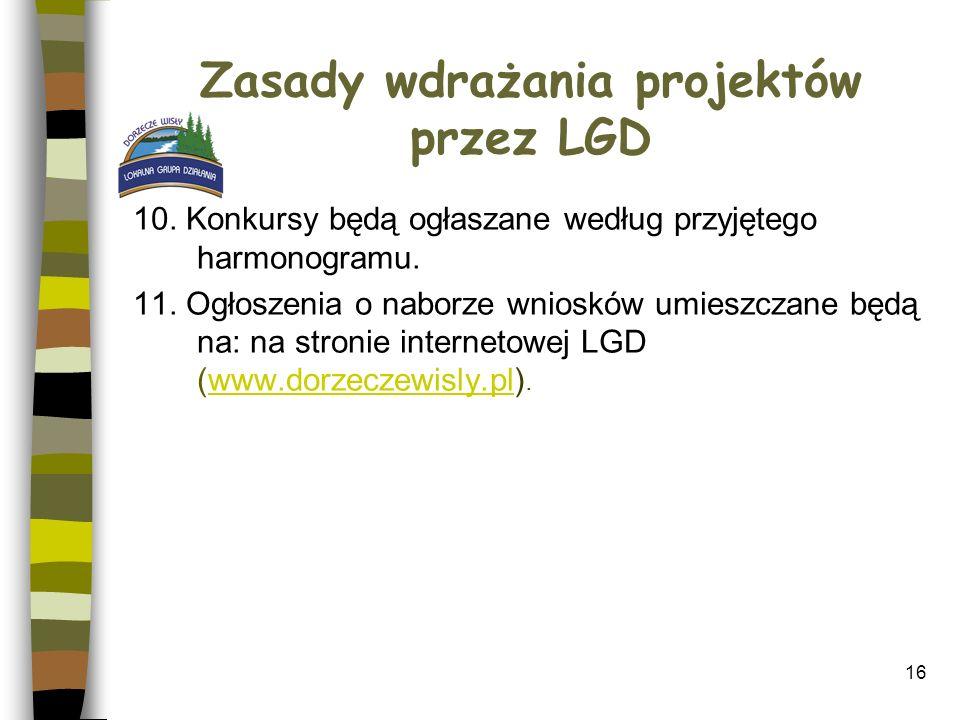 16 Zasady wdrażania projektów przez LGD 10. Konkursy będą ogłaszane według przyjętego harmonogramu. 11. Ogłoszenia o naborze wniosków umieszczane będą