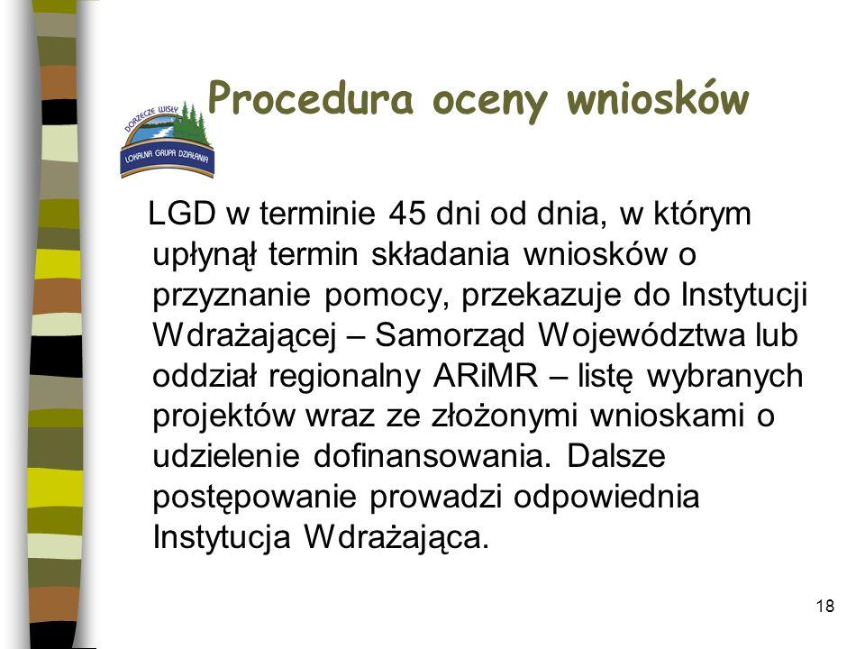 18 Procedura oceny wniosków LGD w terminie 45 dni od dnia, w którym upłynął termin składania wniosków o przyznanie pomocy, przekazuje do Instytucji Wd