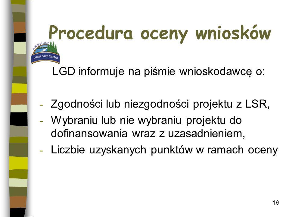 Procedura oceny wniosków LGD informuje na piśmie wnioskodawcę o: - Zgodności lub niezgodności projektu z LSR, - Wybraniu lub nie wybraniu projektu do