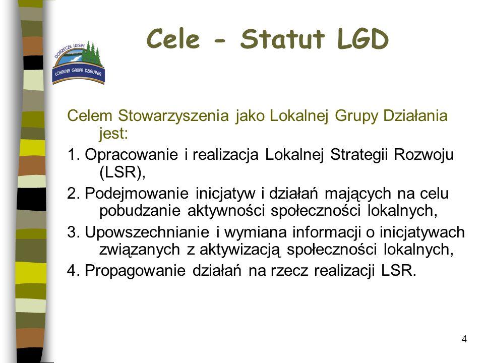 4 Cele - Statut LGD Celem Stowarzyszenia jako Lokalnej Grupy Działania jest: 1. Opracowanie i realizacja Lokalnej Strategii Rozwoju (LSR), 2. Podejmow