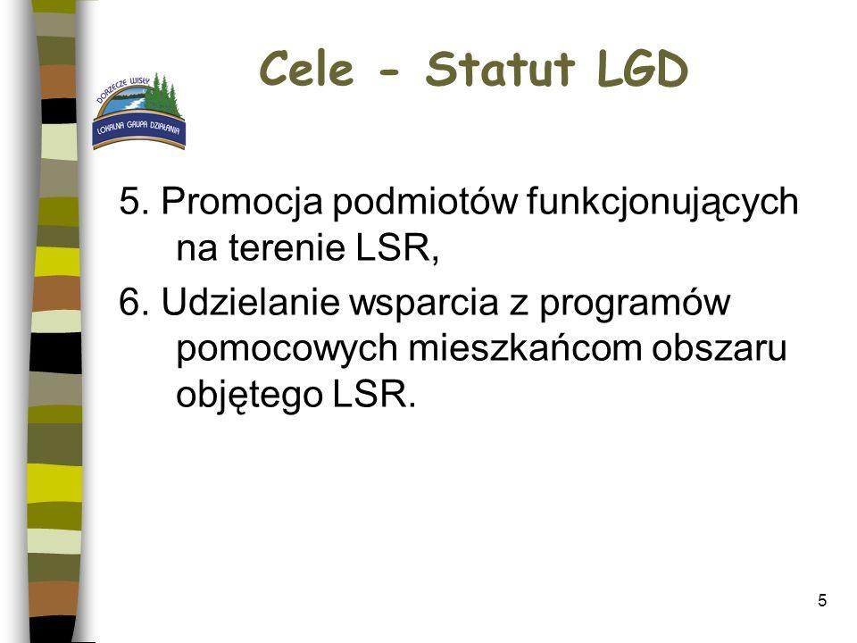 5 Cele - Statut LGD 5. Promocja podmiotów funkcjonujących na terenie LSR, 6. Udzielanie wsparcia z programów pomocowych mieszkańcom obszaru objętego L