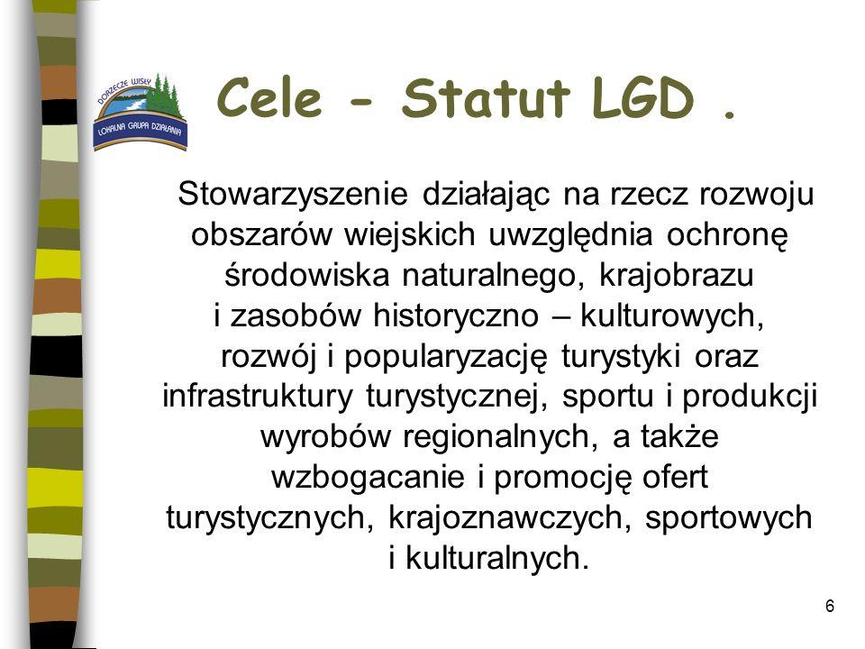Cele - Statut LGD. Stowarzyszenie działając na rzecz rozwoju obszarów wiejskich uwzględnia ochronę środowiska naturalnego, krajobrazu i zasobów histor