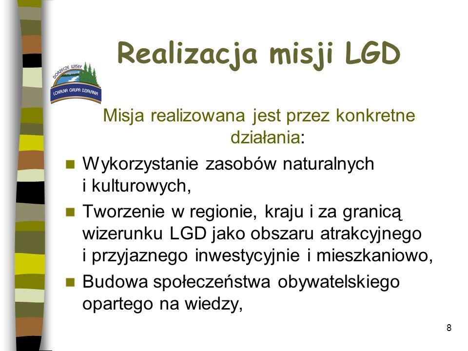 Realizacja misji LGD Misja realizowana jest przez konkretne działania: Wykorzystanie zasobów naturalnych i kulturowych, Tworzenie w regionie, kraju i