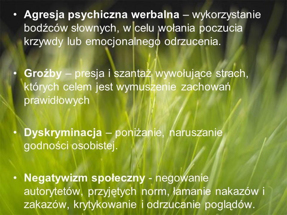 Agresja psychiczna werbalna – wykorzystanie bodźców słownych, w celu wołania poczucia krzywdy lub emocjonalnego odrzucenia. Groźby – presja i szantaż