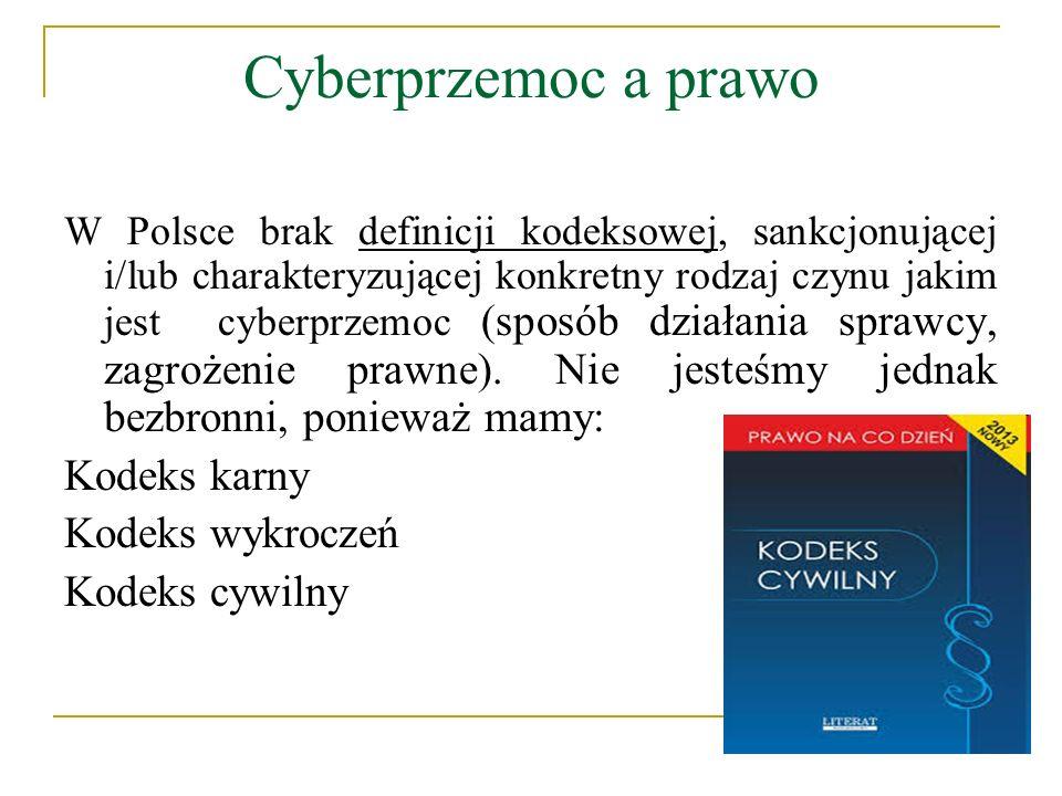 Cyberprzemoc a prawo W Polsce brak definicji kodeksowej, sankcjonującej i/lub charakteryzującej konkretny rodzaj czynu jakim jest cyberprzemoc (sposób