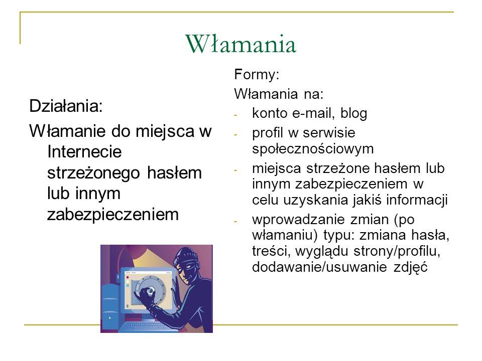 Włamania Działania: Włamanie do miejsca w Internecie strzeżonego hasłem lub innym zabezpieczeniem Formy: Włamania na: - konto e-mail, blog - profil w
