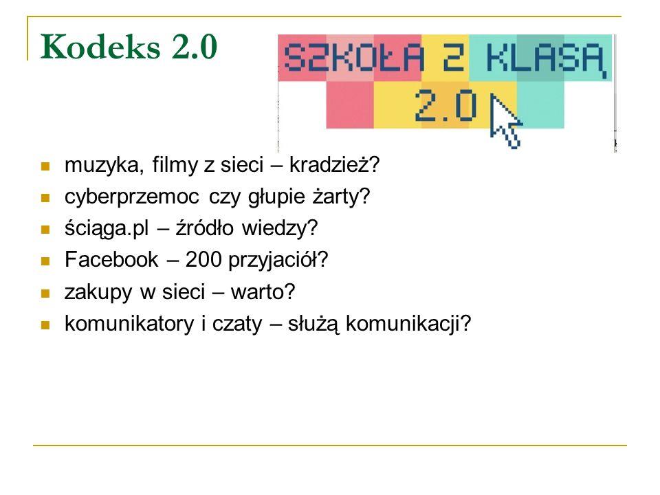 Kodeks 2.0 muzyka, filmy z sieci – kradzież? cyberprzemoc czy głupie żarty? ściąga.pl – źródło wiedzy? Facebook – 200 przyjaciół? zakupy w sieci – war