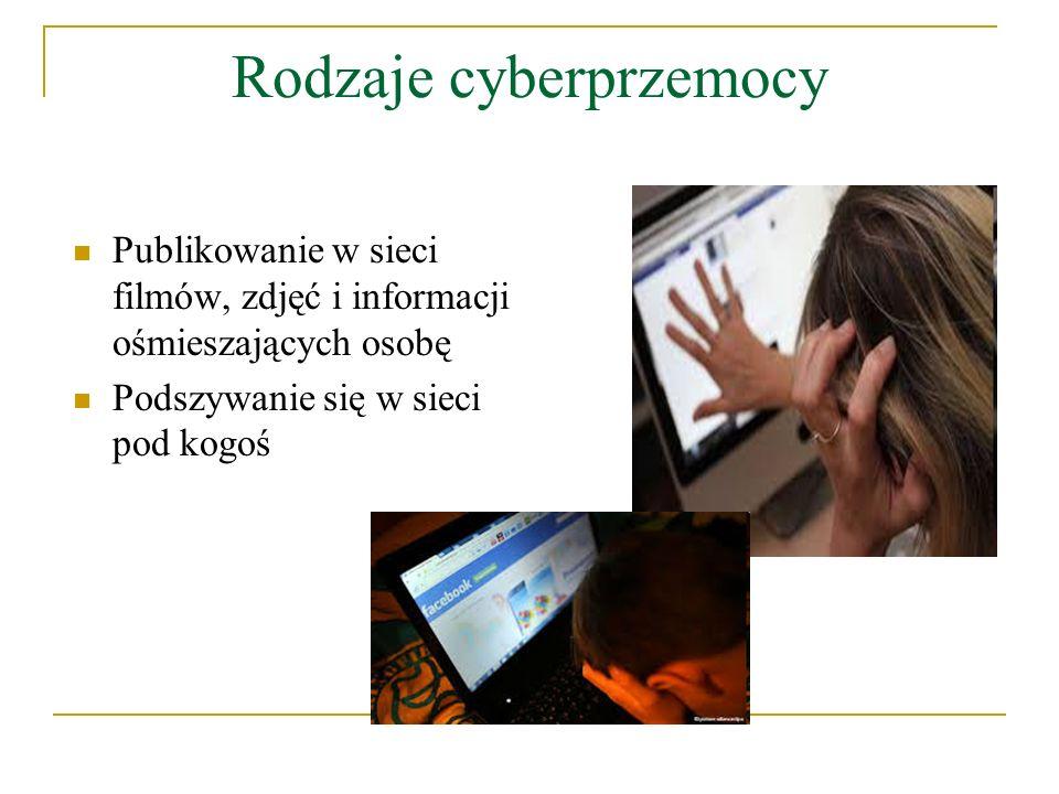 Miejsce występowania cyberprzemocy Poczta elektroniczna Czaty i komunikatory Strony internetowe Blogi Serwisy społecznościowe Grupy i fora dyskusyjne SMS i MMS