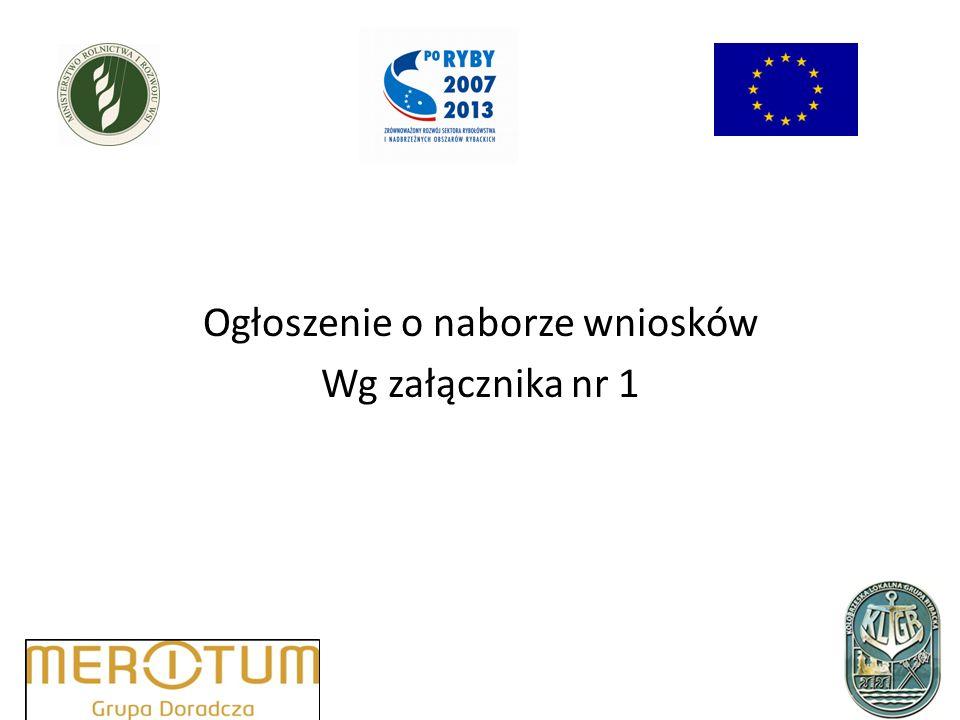 Ogłoszenie o naborze wniosków Wg załącznika nr 1