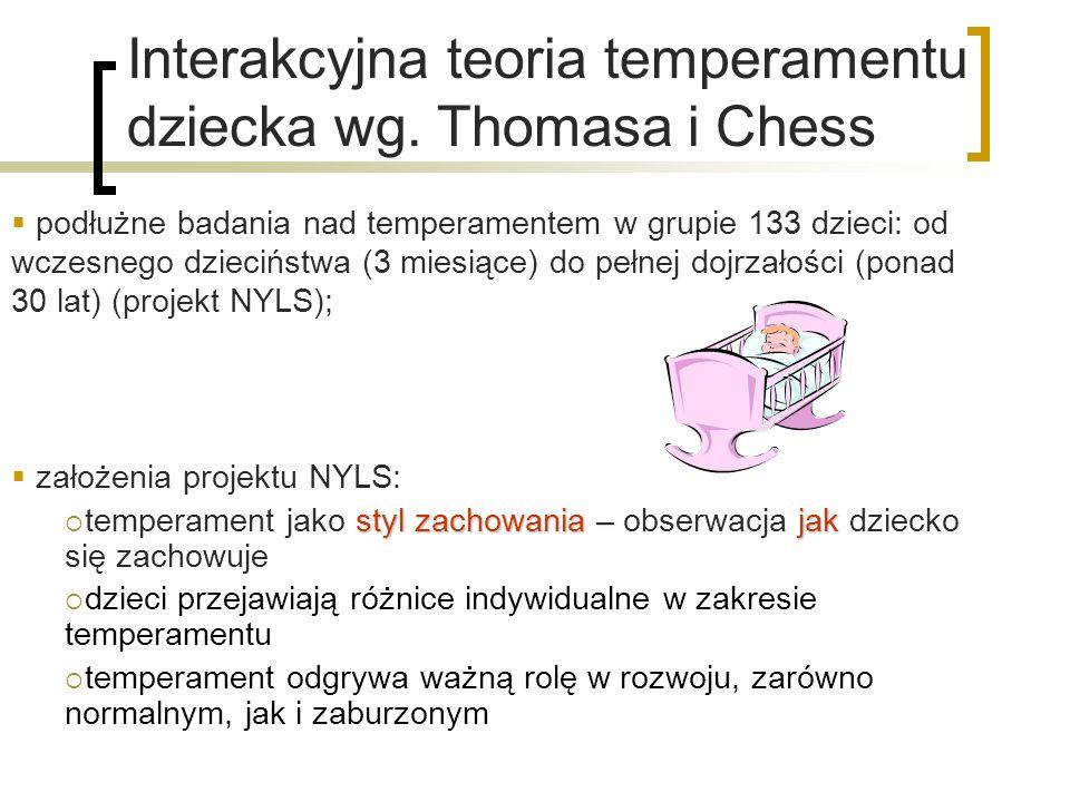 Interakcyjna teoria temperamentu dziecka wg. Thomasa i Chess podłużne badania nad temperamentem w grupie 133 dzieci: od wczesnego dzieciństwa (3 miesi