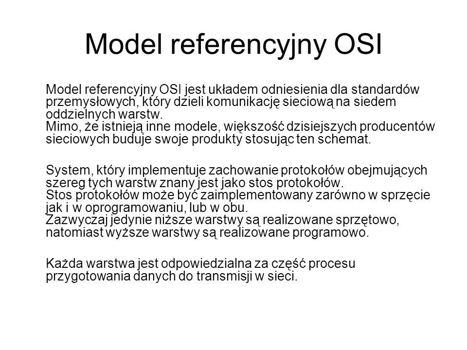 Model referencyjny OSI Model referencyjny OSI jest układem odniesienia dla standardów przemysłowych, który dzieli komunikację sieciową na siedem oddzi