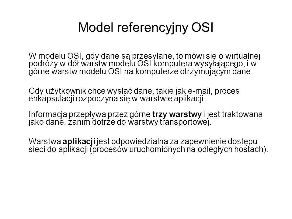 W modelu OSI, gdy dane są przesyłane, to mówi się o wirtualnej podróży w dół warstw modelu OSI komputera wysyłającego, i w górne warstw modelu OSI na