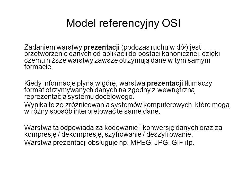 Model referencyjny OSI Zadaniem warstwy prezentacji (podczas ruchu w dół) jest przetworzenie danych od aplikacji do postaci kanonicznej, dzięki czemu
