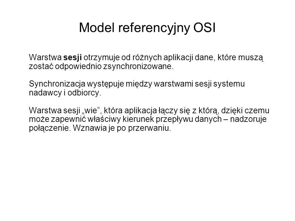 Model referencyjny OSI Warstwa sesji otrzymuje od różnych aplikacji dane, które muszą zostać odpowiednio zsynchronizowane. Synchronizacja występuje mi