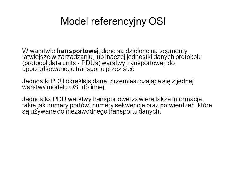 Model referencyjny OSI W warstwie transportowej, dane są dzielone na segmenty łatwiejsze w zarządzaniu, lub inaczej jednostki danych protokołu (protoc