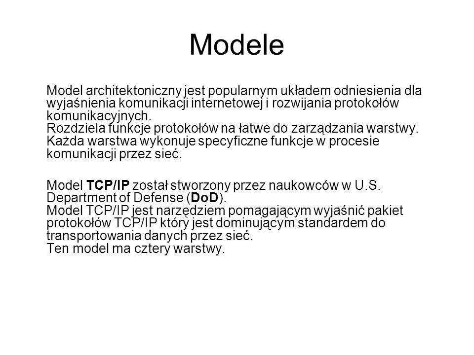 Modele We wczesnych latach 1980 roku International Standards Organization (ISO) rozwinęła model Open Systems Interconnect (OSI), który został zdefiniowany w standardach ISO 7498-1 aby normalizować sposób w jaki komunikują się urządzenia w sieci.