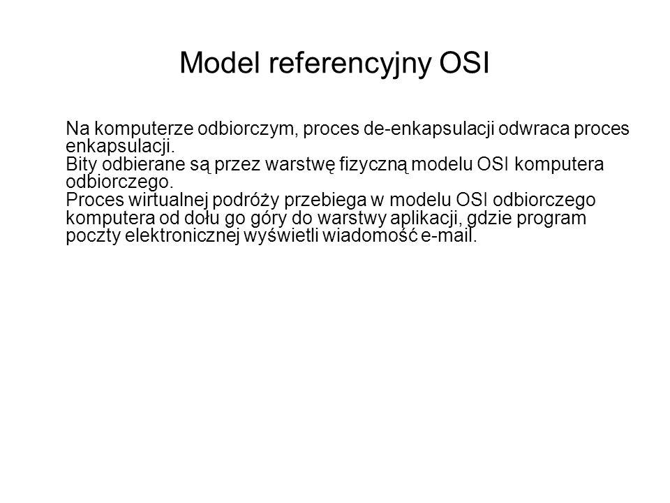 Model referencyjny OSI Na komputerze odbiorczym, proces de-enkapsulacji odwraca proces enkapsulacji. Bity odbierane są przez warstwę fizyczną modelu O