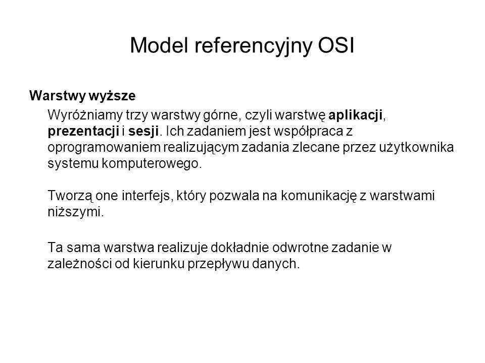 Model referencyjny OSI Warstwy wyższe Wyróżniamy trzy warstwy górne, czyli warstwę aplikacji, prezentacji i sesji. Ich zadaniem jest współpraca z opro