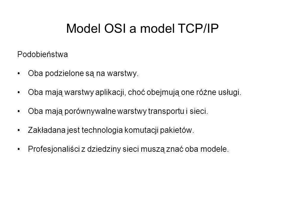 Podobieństwa Oba podzielone są na warstwy. Oba mają warstwy aplikacji, choć obejmują one różne usługi. Oba mają porównywalne warstwy transportu i siec