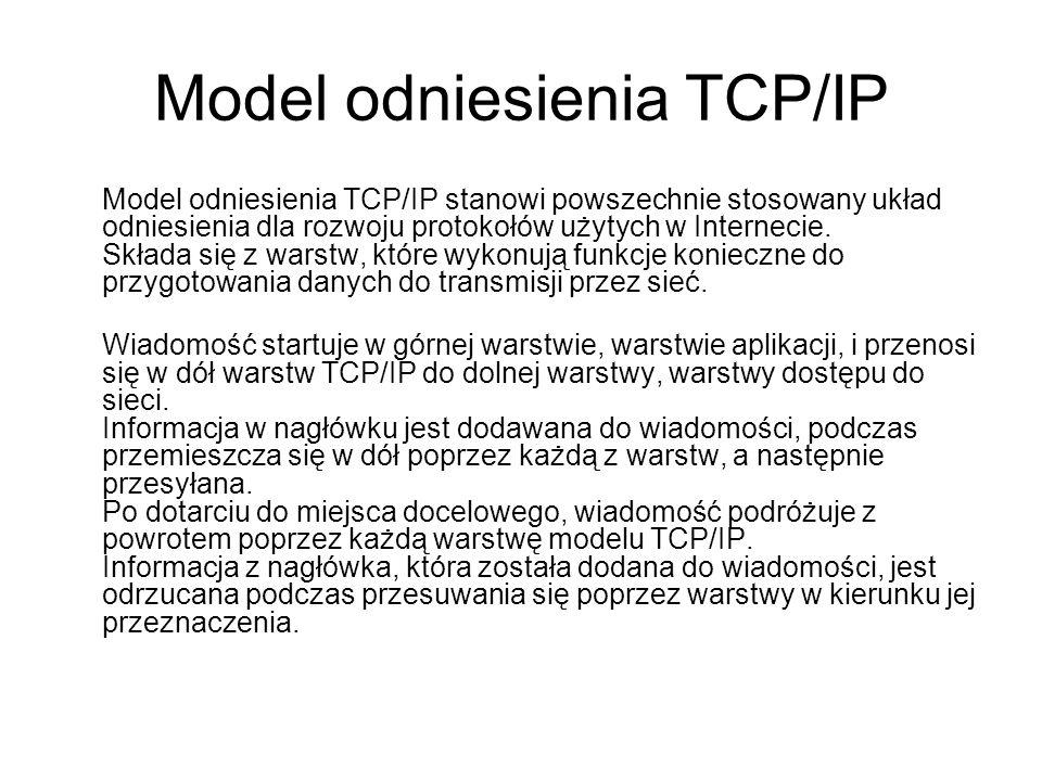 Model odniesienia TCP/IP Model odniesienia TCP/IP stanowi powszechnie stosowany układ odniesienia dla rozwoju protokołów użytych w Internecie. Składa