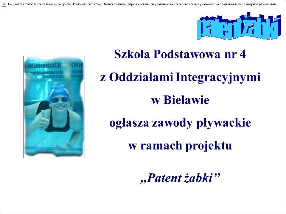 Szkoła Podstawowa nr 4 z Oddziałami Integracyjnymi w Bielawie ogłasza zawody pływackie w ramach projektu,,Patent żabki