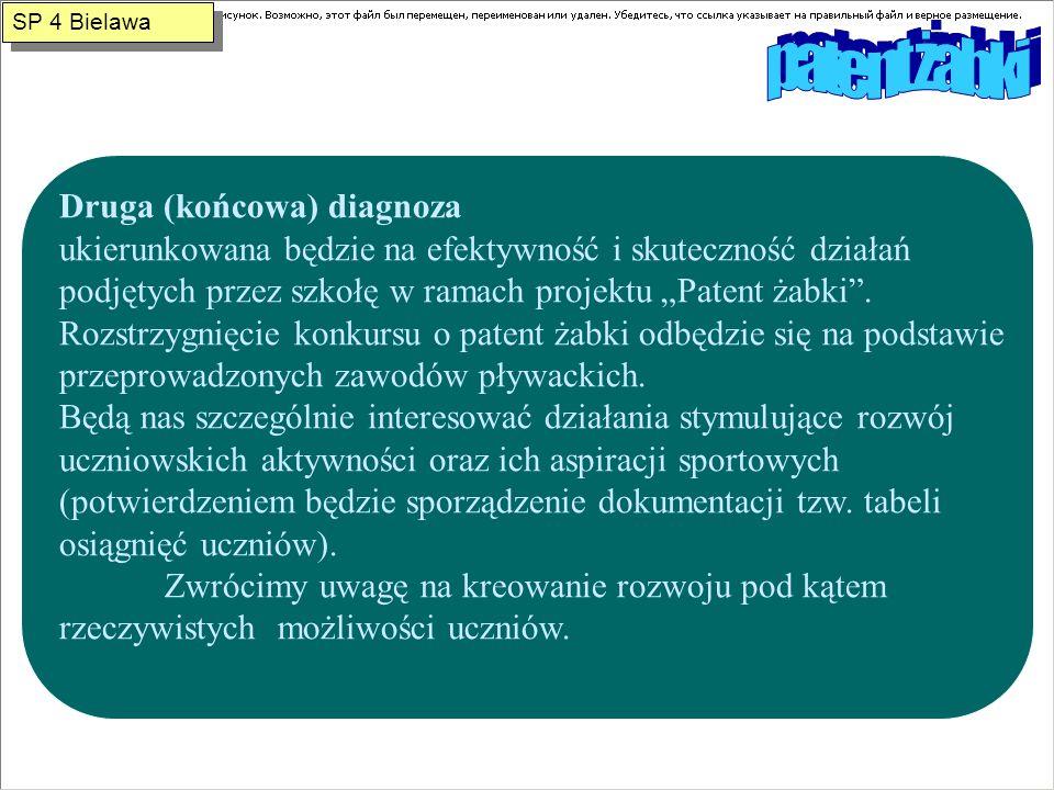 Druga (końcowa) diagnoza ukierunkowana będzie na efektywność i skuteczność działań podjętych przez szkołę w ramach projektu Patent żabki.