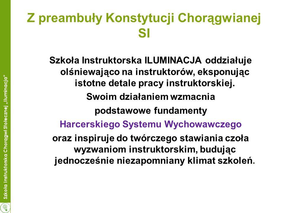 Szkoła Instruktorska Chorągwi Stołecznej Iluminacja Z preambuły Konstytucji Chorągwianej SI Szkoła Instruktorska ILUMINACJA oddziałuje olśniewająco na instruktorów, eksponując istotne detale pracy instruktorskiej.