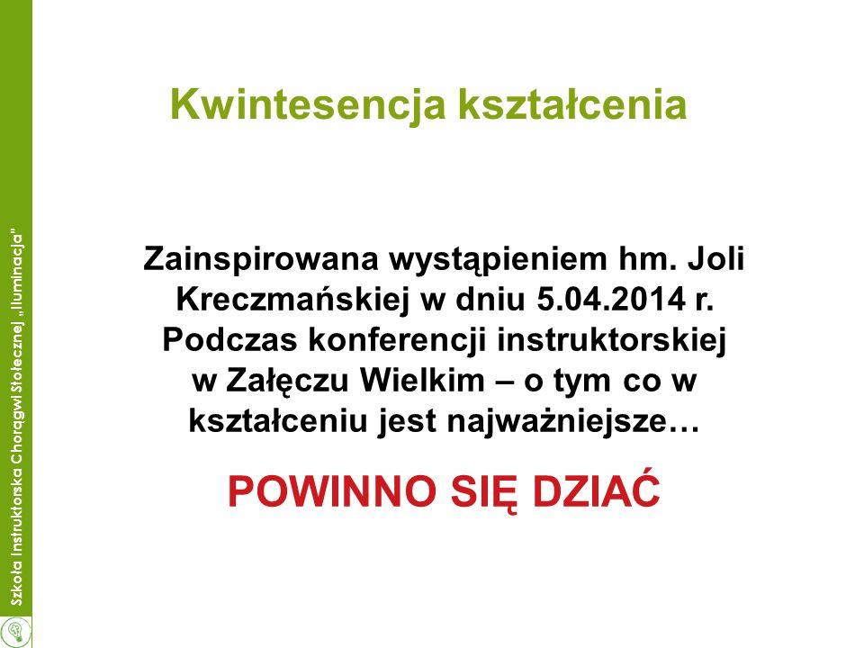 Szkoła Instruktorska Chorągwi Stołecznej Iluminacja Kwintesencja kształcenia Zainspirowana wystąpieniem hm.
