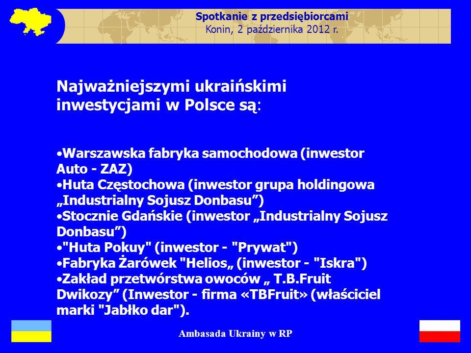 Wspólne inwestycje : Najważniejszymi ukraińskimi inwestycjami w Polsce są: Warszawska fabryka samochodowa (inwestor Auto - ZAZ) Huta Częstochowa (inwe