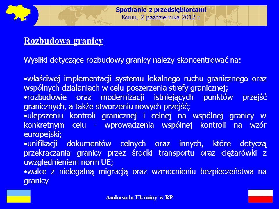 Improving Investment Climate Ambasada Ukrainy w RP Rozbudowa granicy Wysiłki dotyczące rozbudowy granicy należy skoncentrować na: właściwej implementa