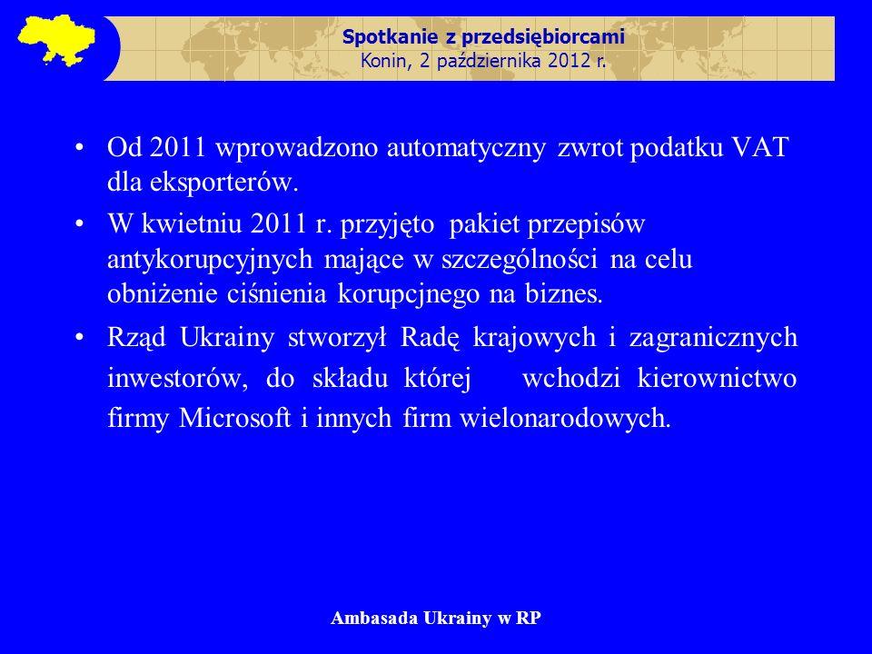 Spotkanie z przedsiębiorcami Konin, 2 października 2012 r. Od 2011 wprowadzono automatyczny zwrot podatku VAT dla eksporterów. W kwietniu 2011 r. przy