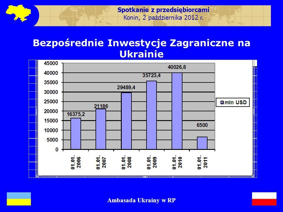 Bezpośrednie Inwestycje Zagraniczne na Ukrainie Ambasada Ukrainy w RP Spotkanie z przedsiębiorcami Konin, 2 października 2012 r.