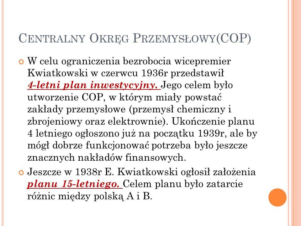 C ENTRALNY O KRĘG P RZEMYSŁOWY (COP) W celu ograniczenia bezrobocia wicepremier Kwiatkowski w czerwcu 1936r przedstawił 4-letni plan inwestycyjny.