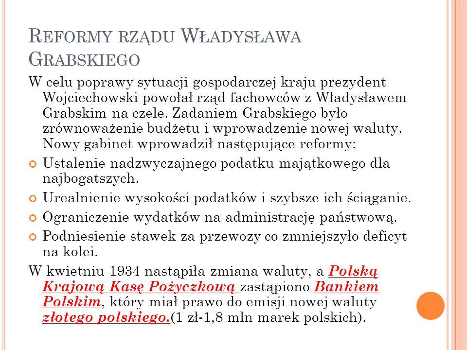 R EFORMY RZĄDU W ŁADYSŁAWA G RABSKIEGO W celu poprawy sytuacji gospodarczej kraju prezydent Wojciechowski powołał rząd fachowców z Władysławem Grabskim na czele.